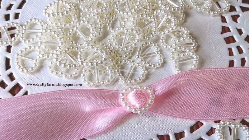 Pearl Ribbon Buckle as Wedding Card Embellishment