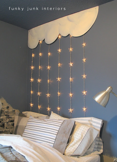 kid's headboard stars and clouds wall treatment