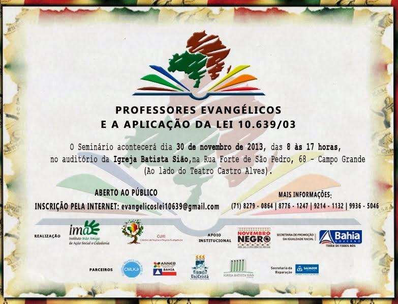 PROFESSORES EVANGÉLICOS E A APLICAÇÃO DA LEI 10.639/03