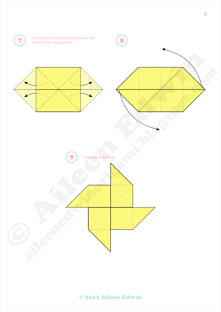 Origami pinwheel base diagrams