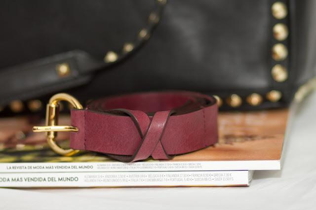 Cinturón burgundy de cuero de Massimo Dutti