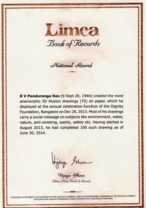 Limca Book of Record Certificate