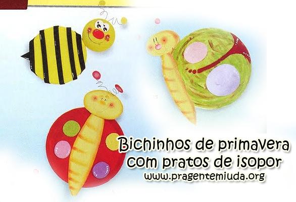 bichinhos feitos com pratos de isopor pintados
