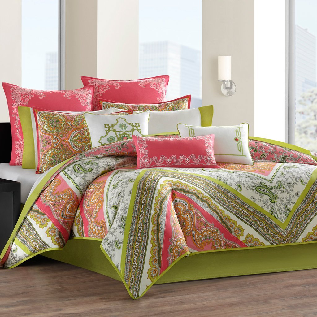 Coral colored comforter and bedding sets for Bed settings