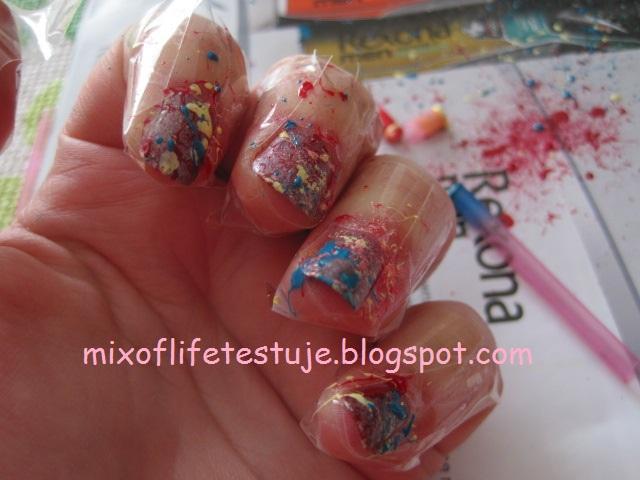 splatter nails, metoda splatter, paznokcie metodą dmuchania, paznokcie malowane słomką
