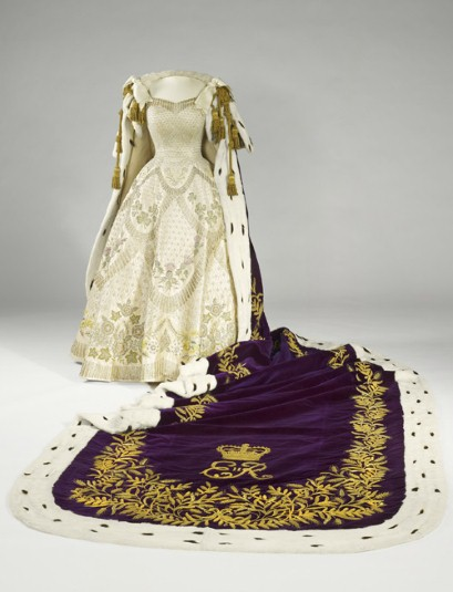 Norman Hartnell gown and purple velvet with Ermine,trimmed Coronation Robe