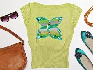blusa con mariposa en fieltro
