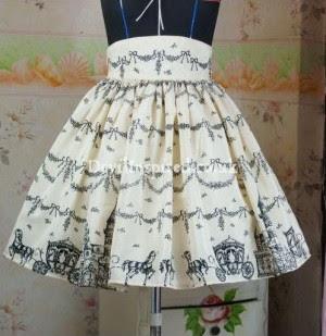 Sweet Snowy Castle Print Rococo Lolita Skirt