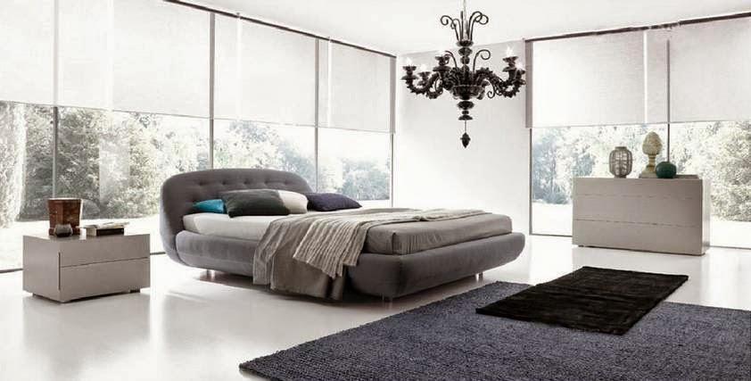 Kamar tidur warna abu-abu