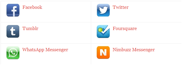 Facebook, Tumblr, WhatsApp Messenger, Twitter, Foursquare, Nimbuzz Messenger