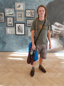 Local Czech Mr Vimos.Pisa with his classic Rastafarian hairstyle at the  Saudek  exhibition.