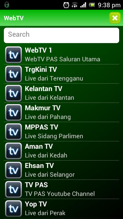 8 Menu WebTV PAS Lancar Aplikasi Android Touch `n Get (TnG)