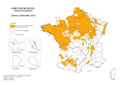 Directive nitrates : carte des zones vulnérables 2013