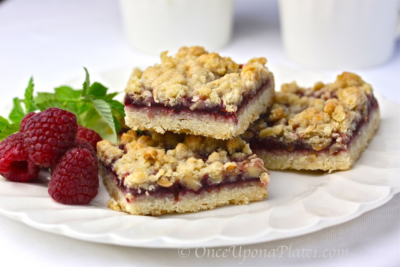 Once Upon a Plate The Recipes: Double Raspberry Streusel Bars