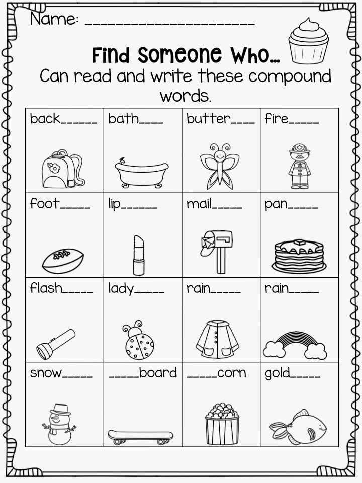 This is a graphic of Dashing Printable Compound Word Games