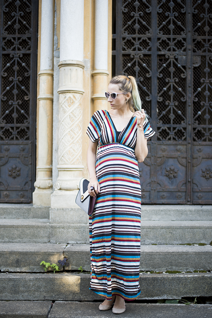 Skinny Buddha stripes maxi dress henna tattoo