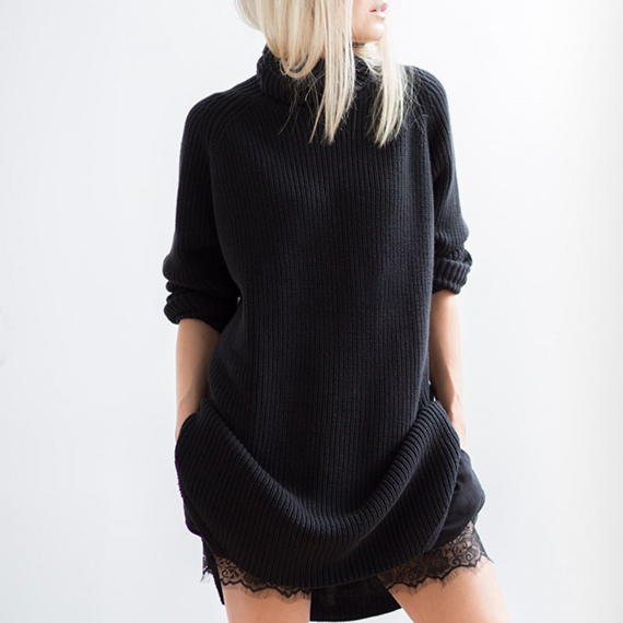 Sweater over lace via Figtny