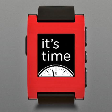 Orologio intelligente Pebble rosso e nero