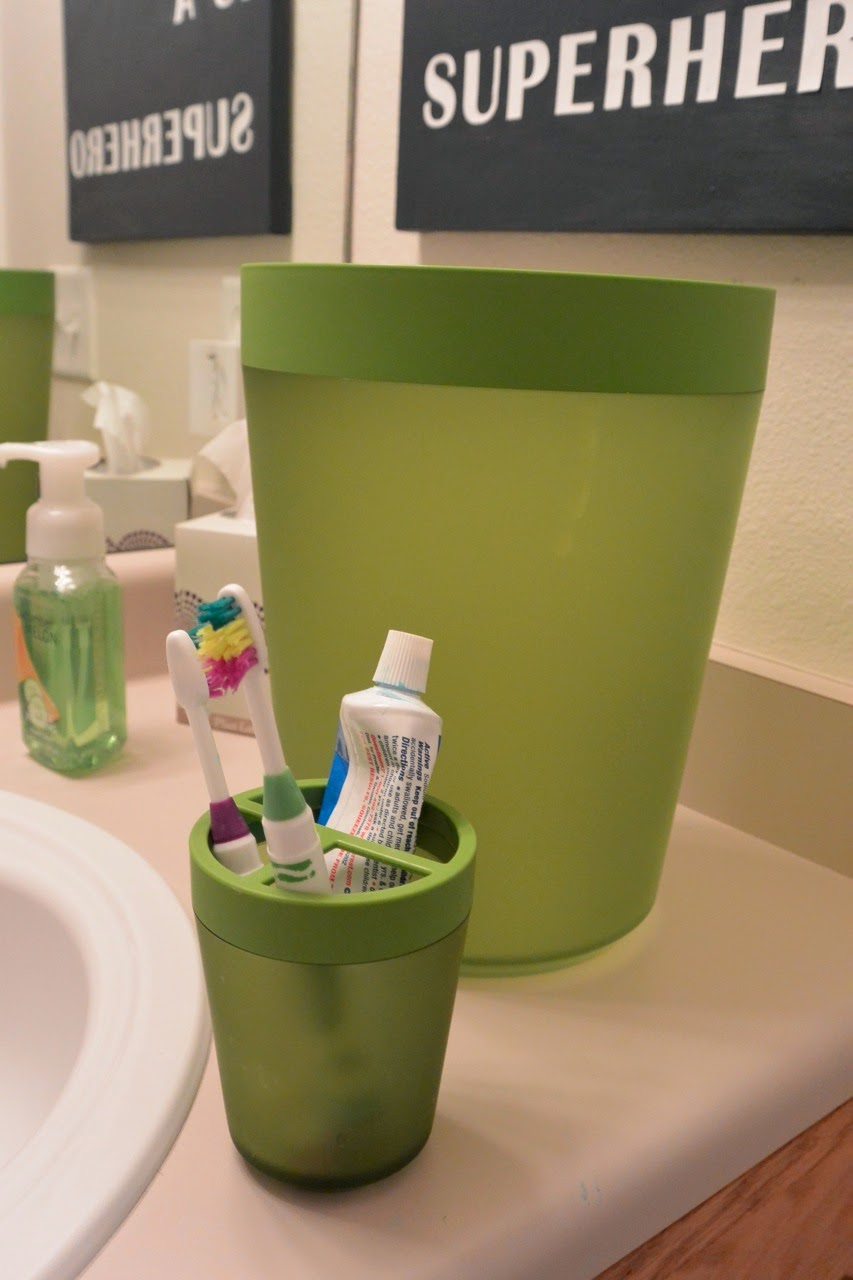 Pottery barn trash can - Green Trashcan 10 And Green Toothbrush Holder 5 From Target