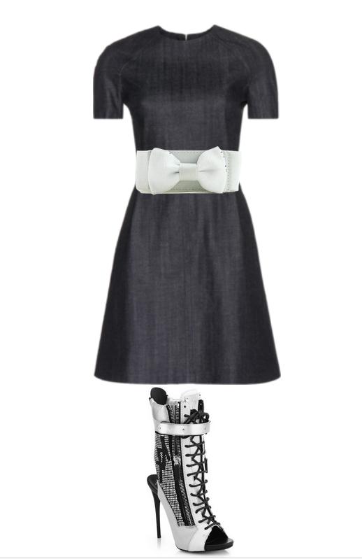 denim dress, white belt,heels