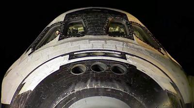 Front view of Endeavour's cockpit. NASA 2011.