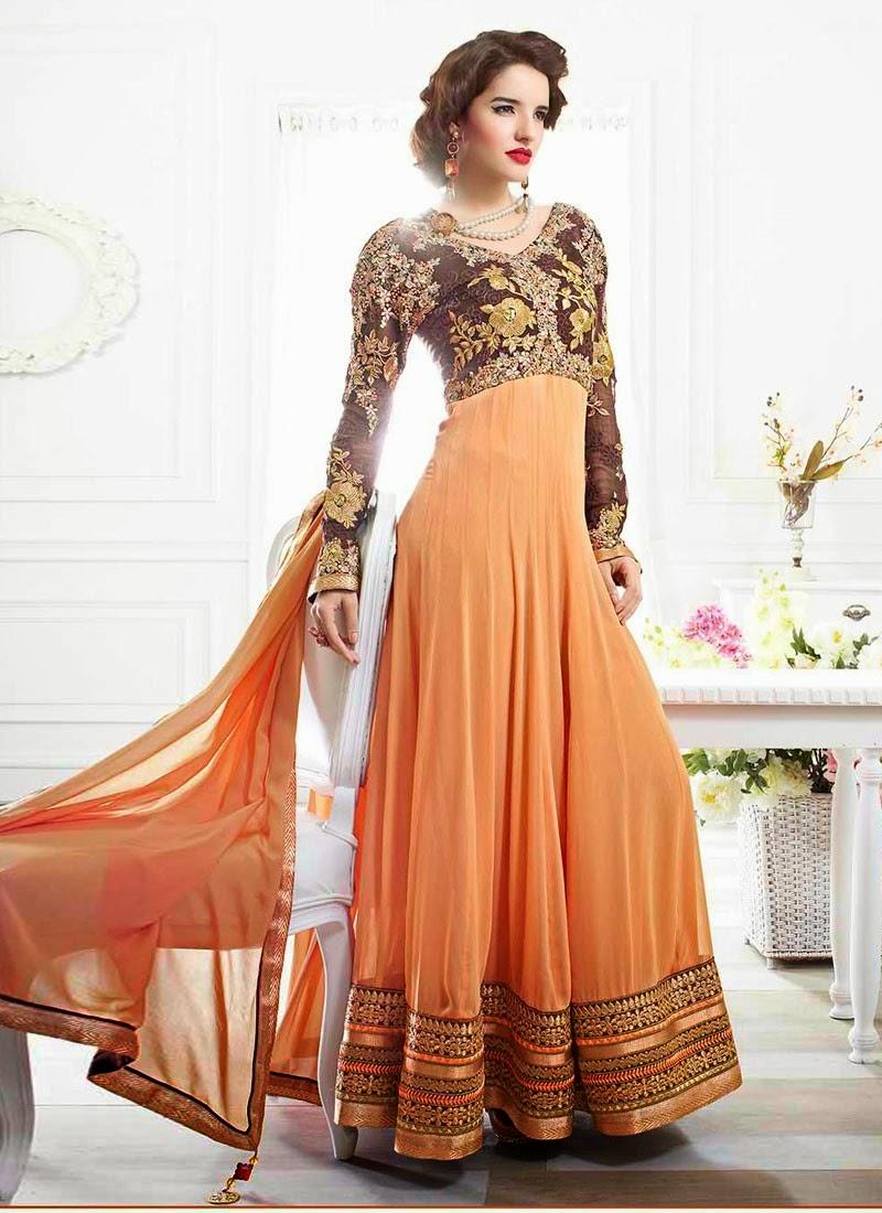 Orange Designer Wear Salwar Kameez