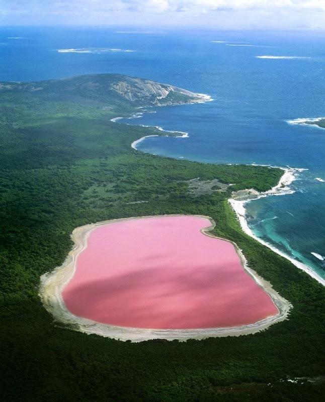Danau merah muda di Middle Island