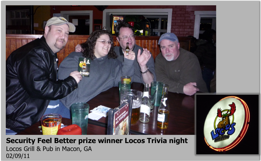 no more hangovers security feel better prize winners at locos trivia night. Black Bedroom Furniture Sets. Home Design Ideas