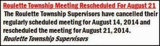 8-14/8-21 Roulette Township Meeting Cancelled/Rescheduled