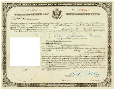 INS DOC FOUND: U.S. CERTIFICATE ISSUED TO ONE EAST AFRICAN-BORN ...