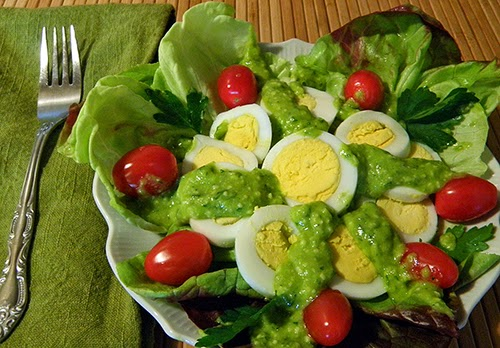 Fava Pesto on Leaf Lettuce, Grape Tomatoes, and Hard Cooked Eggs