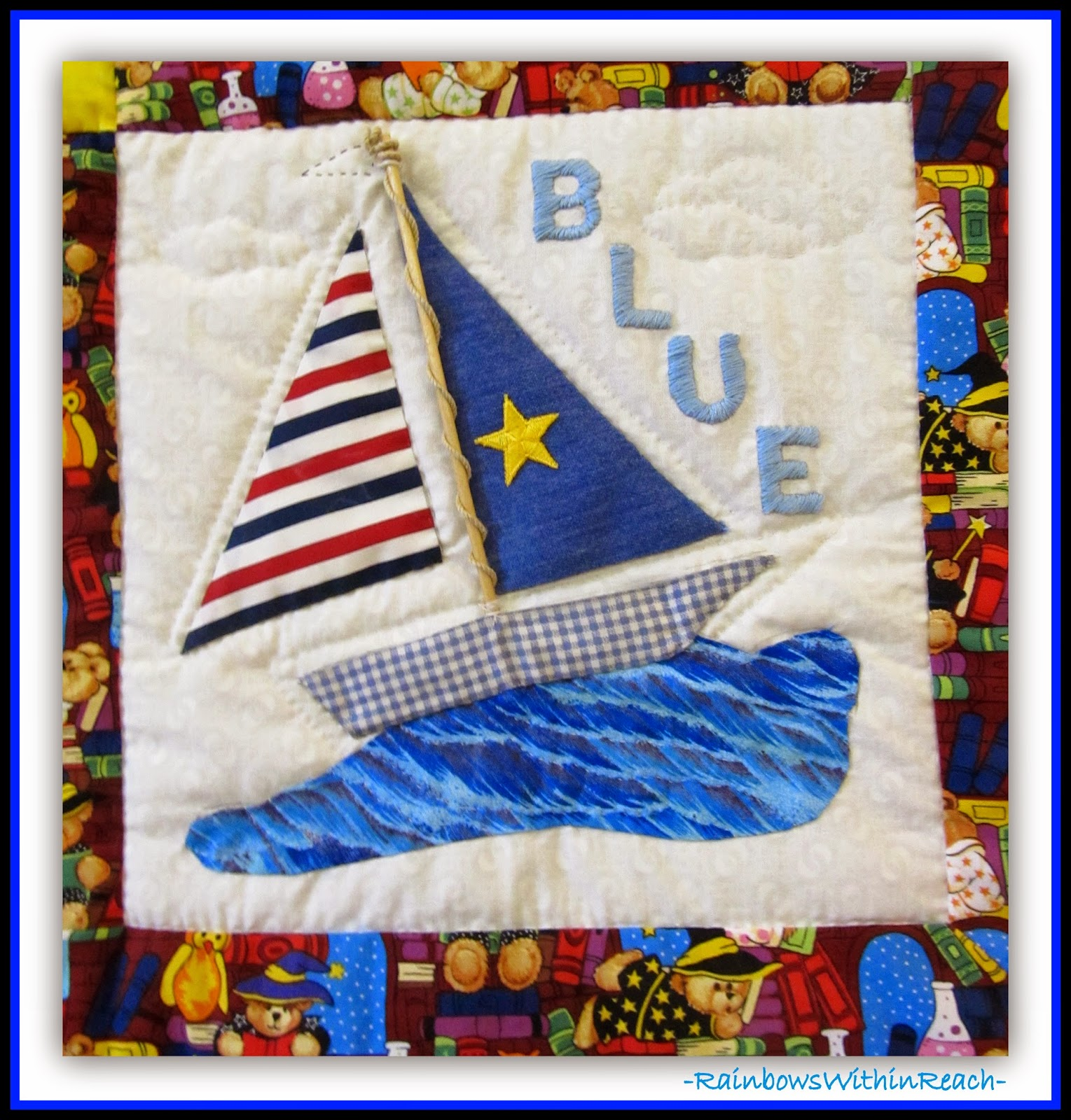 Ocean Sailboat Quilt {Ocean RoundUP at RainbowsWithinReach}