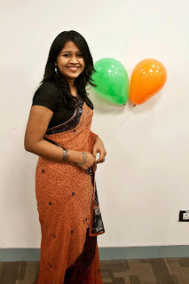 girl in saree celebrating her birthday.