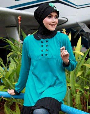 Zenitha Koleksi Busana Muslim Ukuran Big Size biru hitam