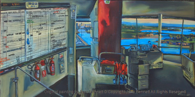 oil painting of the interior of Sydney Harbour Control Tower in Millers Point by Jane Bennett, industrial heritage artist