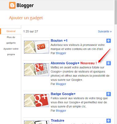 ajouter gadget abonnés google+ sur blogger
