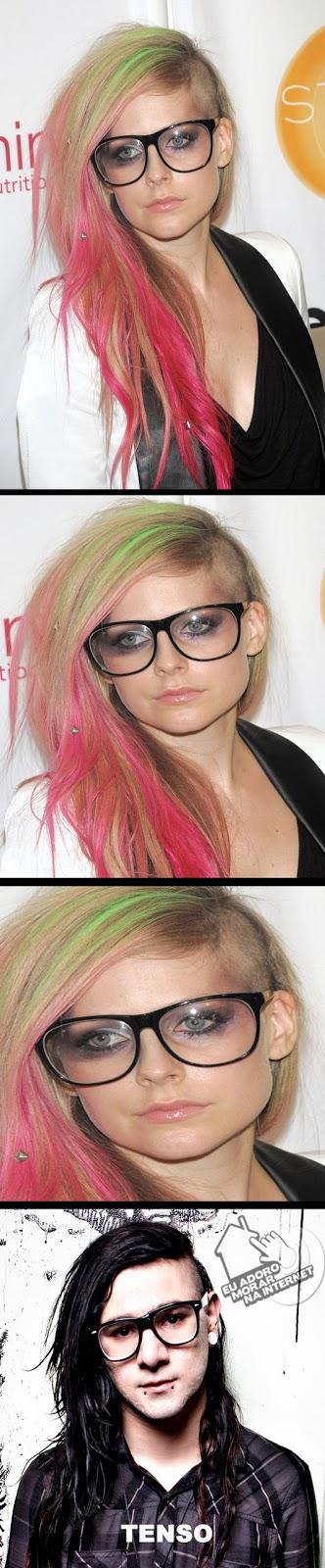 avril lavigne, skrillex, novo corte de cabelo da avril lavigne, tenso , imagens, humor, eu adoro morar na internet