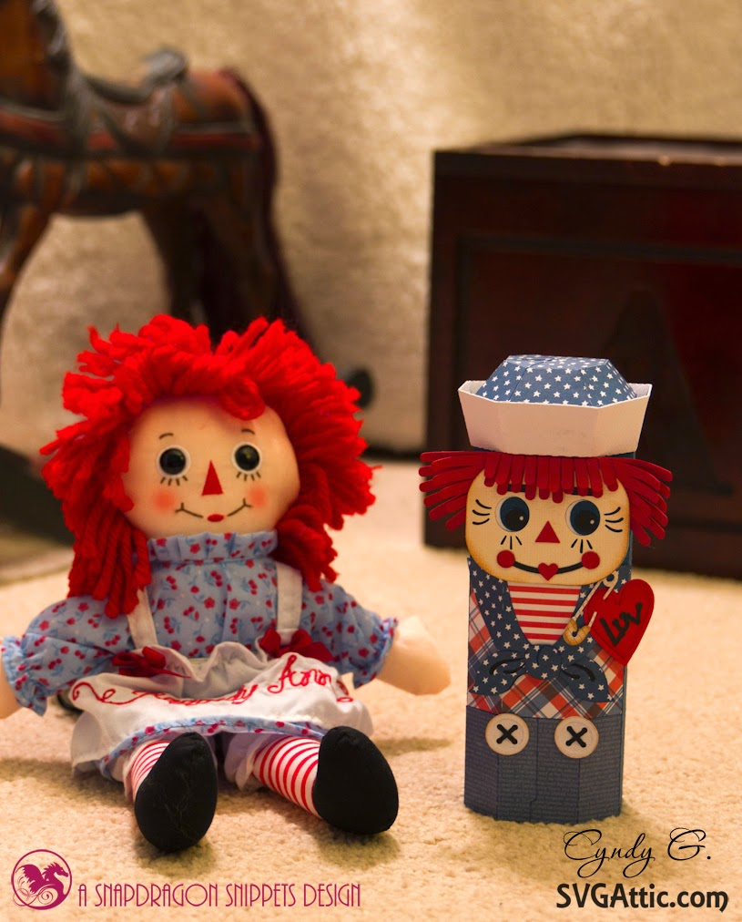Raggedy Ann doll with Raggedy Andy paper canister