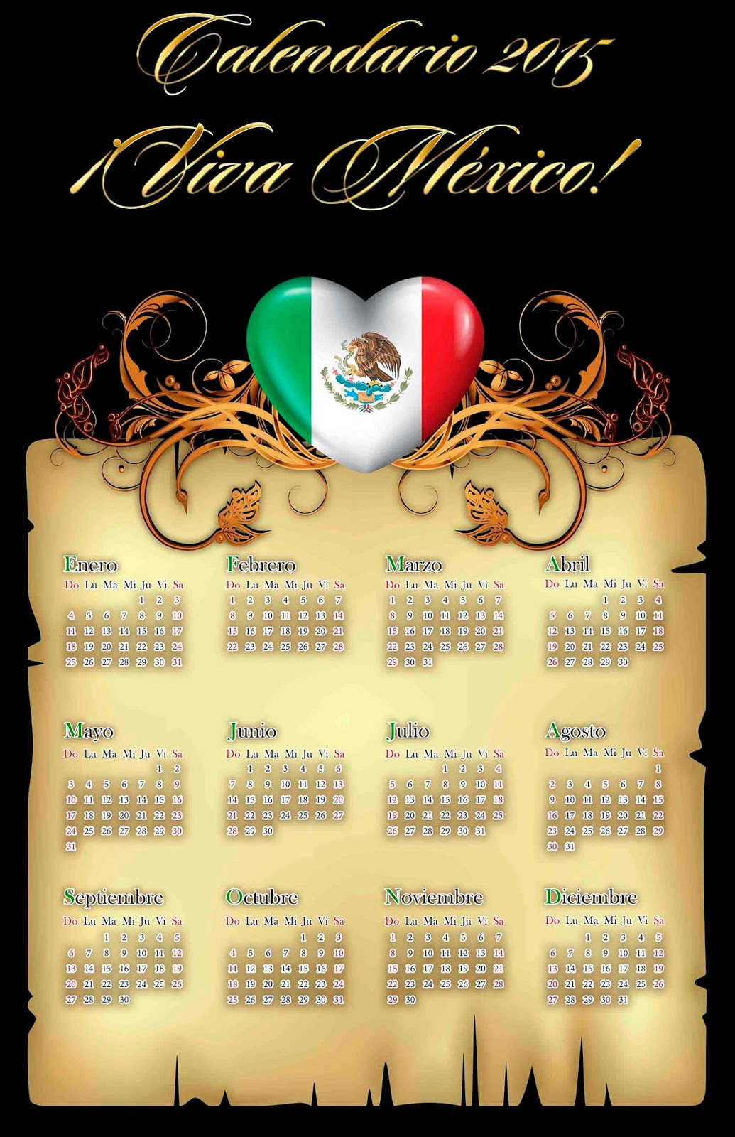 Pergamino en fondo negro con escudo de México y un calendario 2015