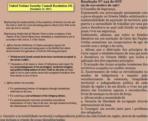 Palestina-Israel, resolução 242 do Conselho de Segurança da ONU