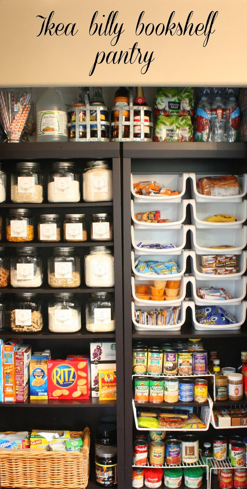 My sweet savannah pantry made with ikea bookshelves for Kitchen pantry shelving ikea