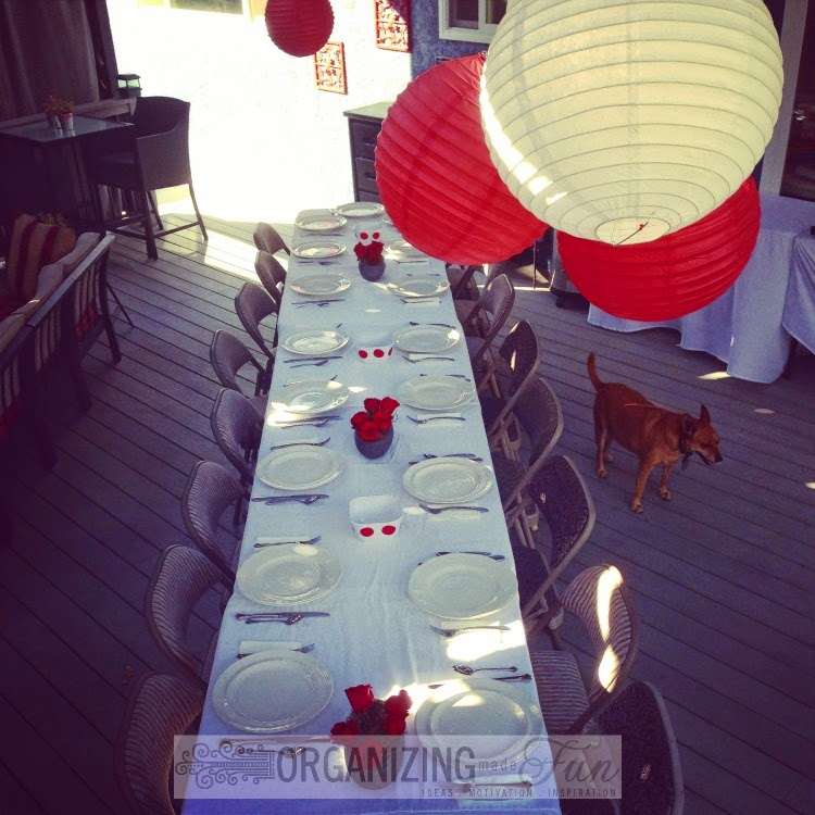 Outdoor party with paper lanterns:: OrganizingMadeFun.com