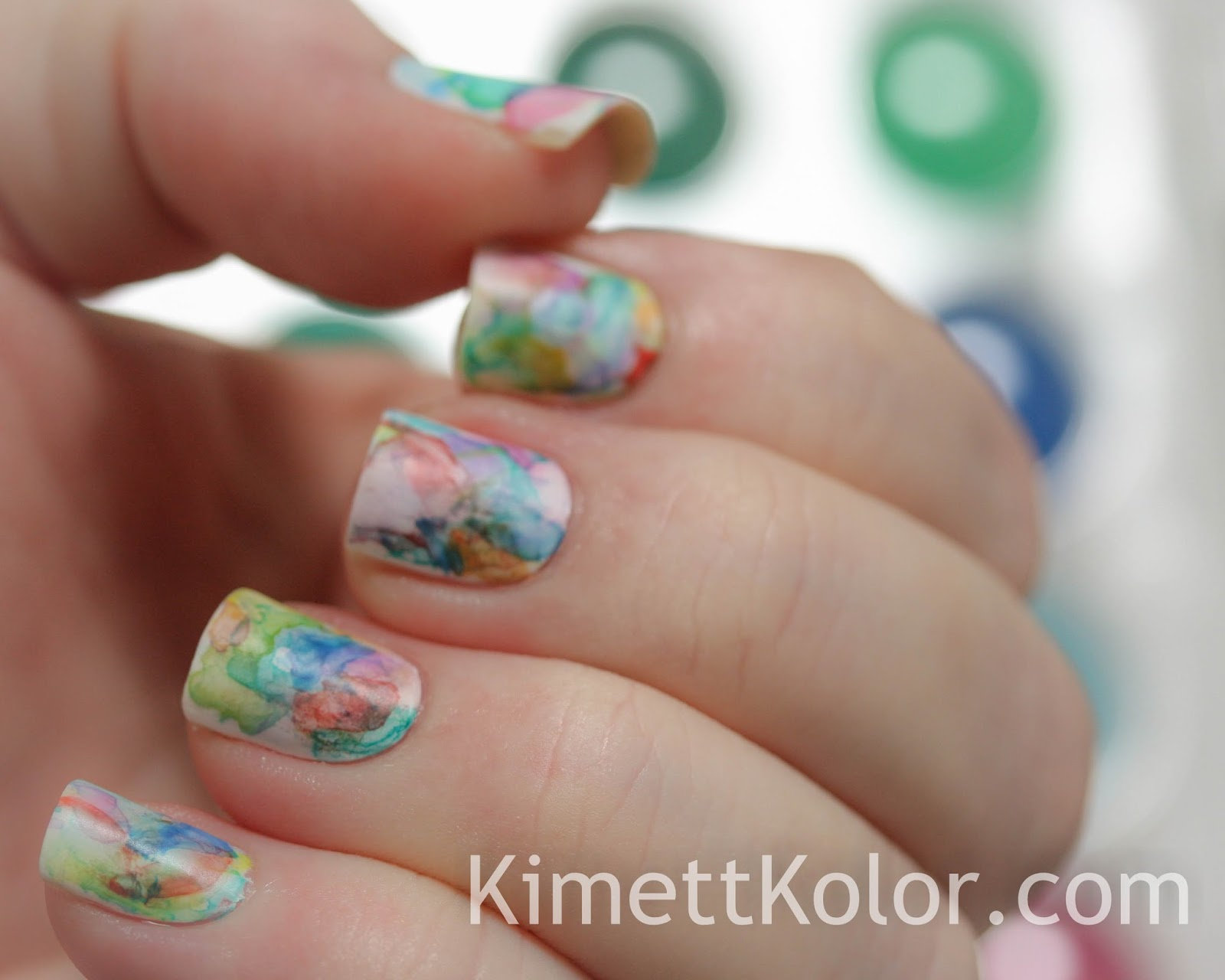 Abstract Watercolor Painting - On My Nails! | Kimett Kolor
