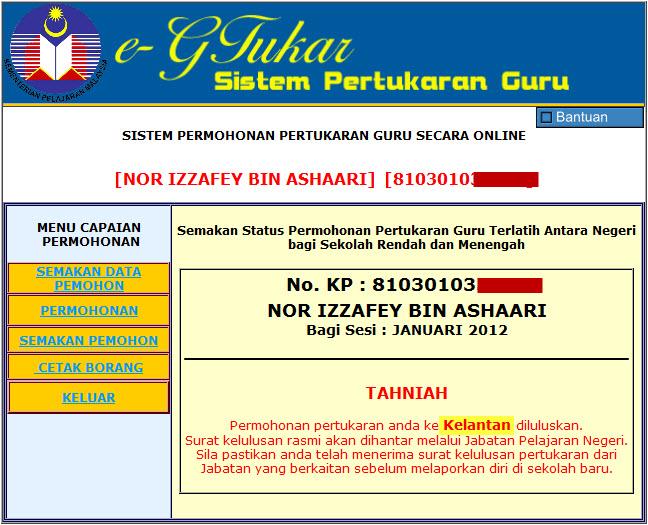 Akhirnya Dapat Pindah Ke Kelantan.