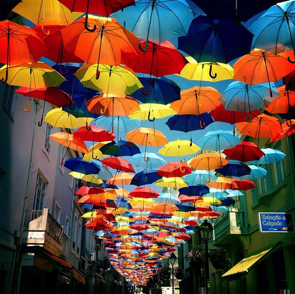 portugalumbrellas00 - Colorful Umbrella  Covers Street in Agueda, Portugal