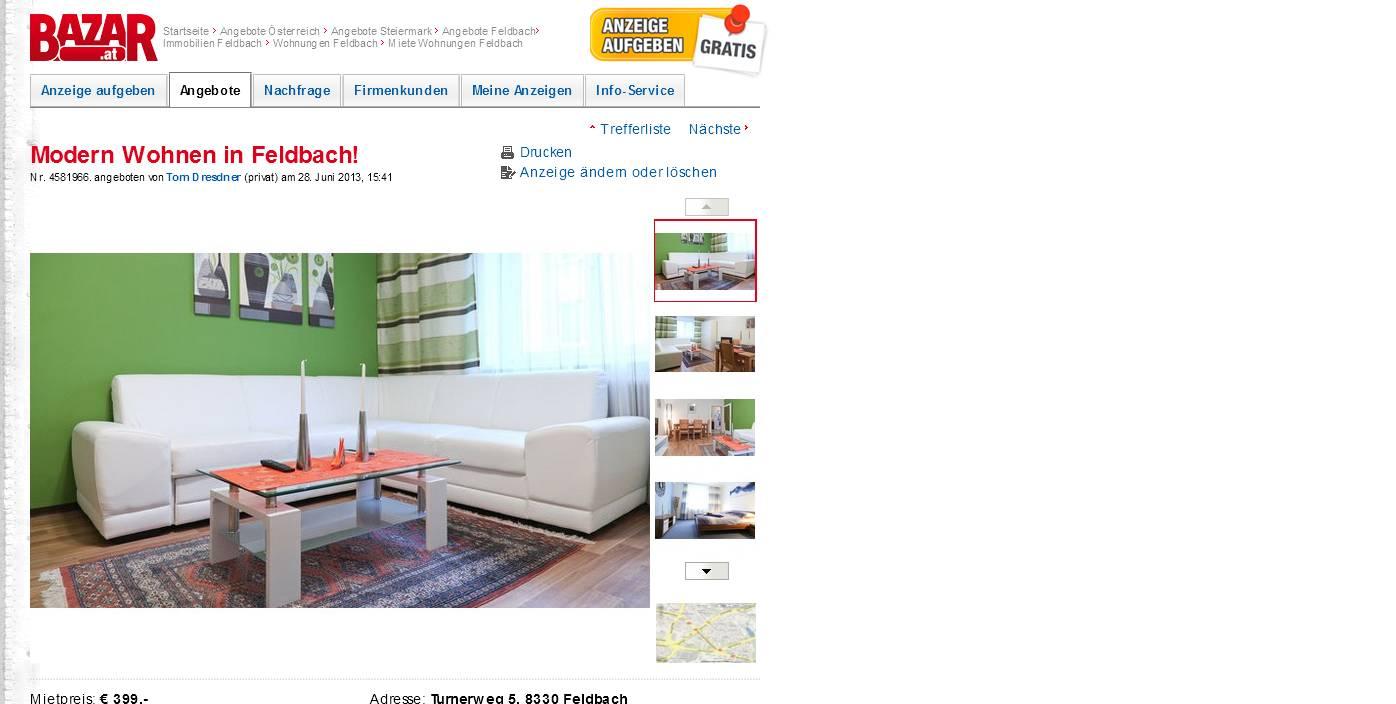 modern wohnen in feldbach turnerweg 5 8330 feldbach vorkassebetrug fraud scam. Black Bedroom Furniture Sets. Home Design Ideas