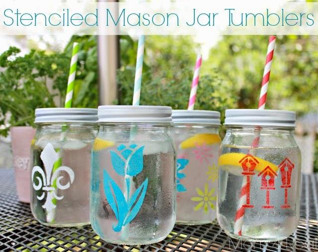 http://www.mom4real.com/2013/07/stenciled-mason-jar-tumblers.html