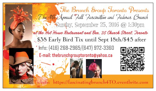 Join the Hat Brunch Group Toronto for the 4th Annual Fall Fascination and Fedoras Brunch, Sept 25th