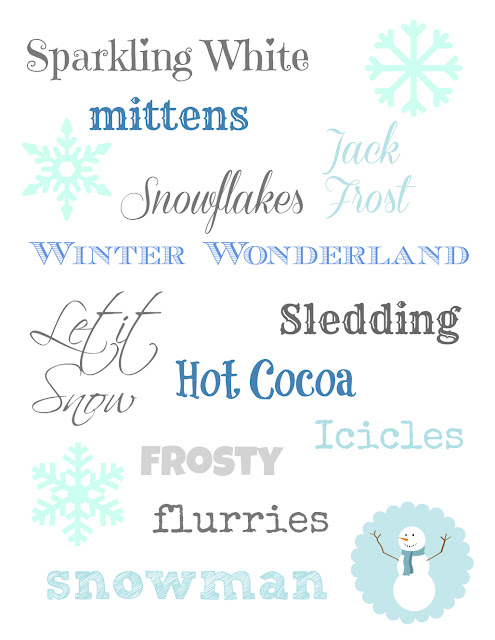 Winter Subway Art (free printable)