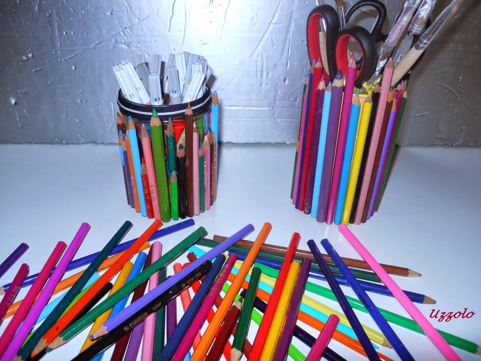 Uzzolo portapenne con le matite colorate - Portapenne da scrivania ...